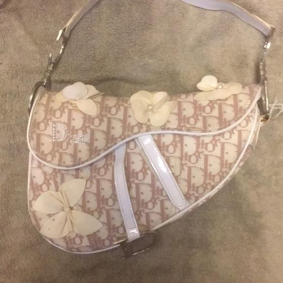 f313f174c9ba CHRISTIAN DIOR Handbags - CHRISTIAN DIOR Vintage saddlebag w leather florets